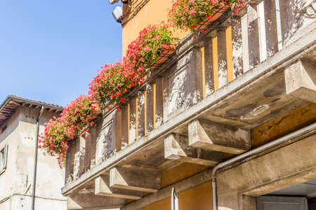 petunias: vintage balcony  with hanging fuchsia petunias