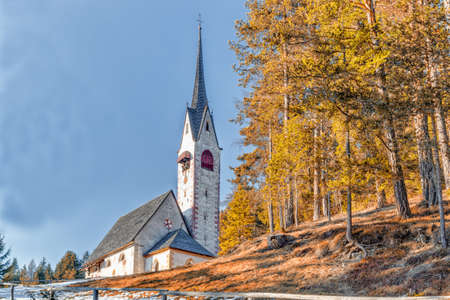 old church: The small Catholic roman  Church of Saint Jacob above Ortisei in Italian Dolomites