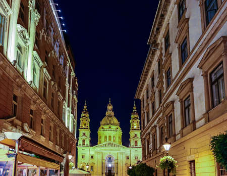 saint stephen cathedral: Basilica of Saint Stephan in Budapest, Hungary by night