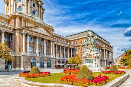 castle: Buda Castle and equestrian  statue of Prince Eugene of Savoy in Budapest, Hungary Editorial