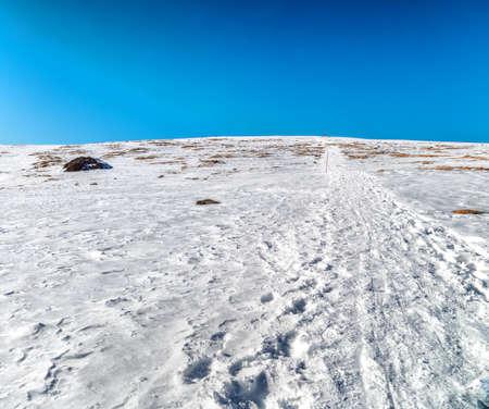 ski traces: Trails on fresh snow on Dolomites Alps Stock Photo