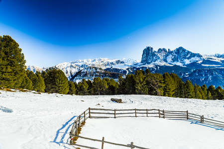 dolomite: fence in front of Dolomite mountains covered with white snow and green conifers in Italy