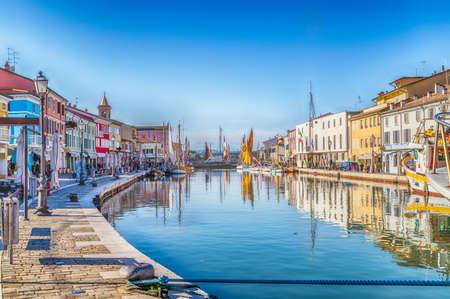 Ancient boats on Leonardesque Canal Port  in Cesenatico in Emilia Romagna in Italy 스톡 콘텐츠