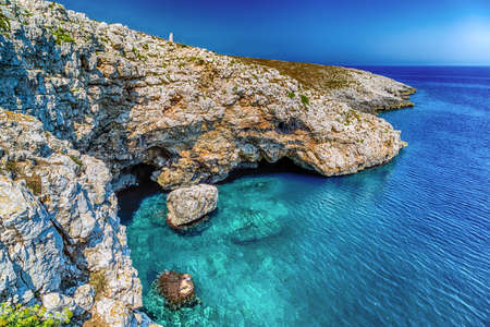 cove on the rocky beach near Otranto in Puglia, Italy Reklamní fotografie
