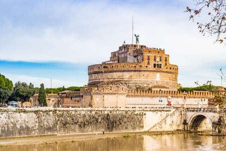 tevere: Rome the eternal city, architectural, ancient monuments and historic buildings. Castle of the Holy Angel or The Mausoleum of Hadrian and the Tevere river in the background