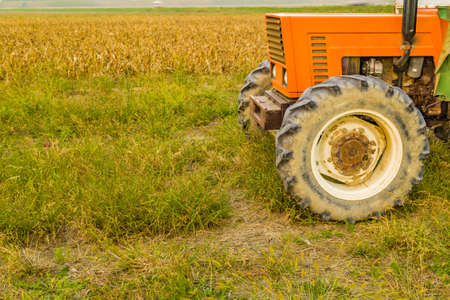 harvested: old tractor and trailer next to a land where maize was harvested Stock Photo