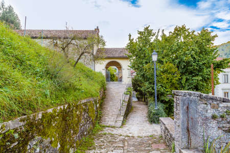 characterized: The Palace of  the Captains in medieval mountain village in Tuscany characterized by houses with walls of stones derived from the Renaissance