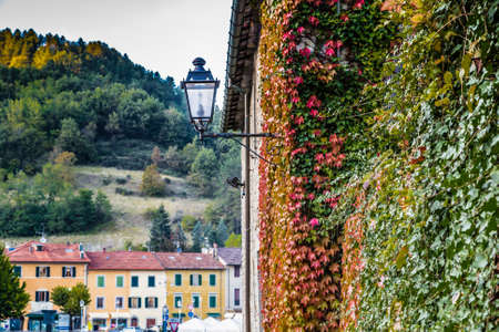 characterized: Boston ivy around street lamp on The Palace of  the Captains in medieval mountain village in Tuscany characterized by houses with walls of stones derived from the Renaissance Stock Photo