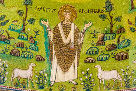 detail of mosaic work in Ravenna Christian basilica built in the first half of the sixth century