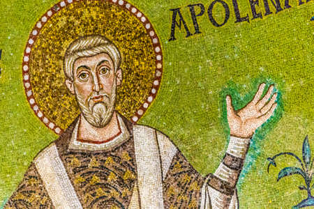 the sixth: detail of mosaic work in Ravenna Christian basilica built in the first half of the sixth century