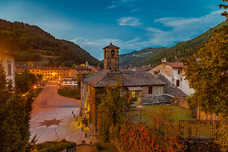 characterized: The Palace of  the Captains at sunset in medieval mountain village in Tuscany characterized by houses with walls of stones derived from the Renaissance