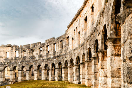 history architecture: Architecture details of the Roman amphitheatre in Pula, Croatia, an arena similar to Colosseum of Rome Stock Photo