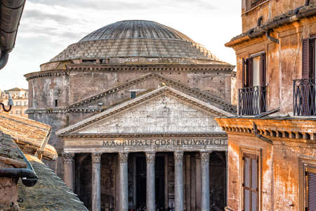 pantheon: Windows of historical building in the center of Rome and view of the Pantheon
