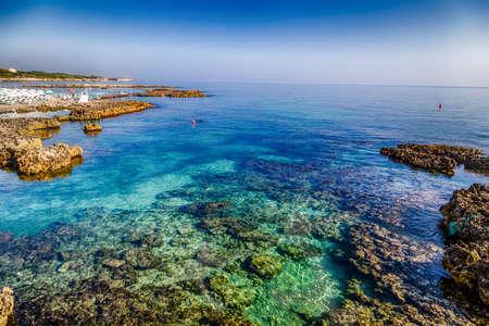 Beach facilities in Otranto, Greek-Messapian city on the Adriatic Sea in Italy