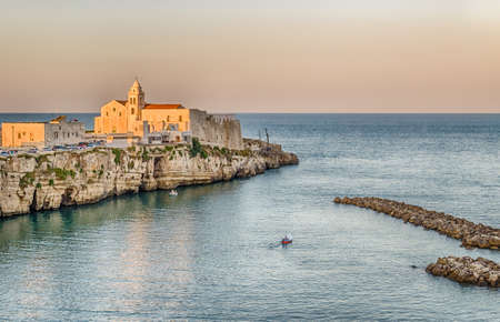 foggia: Vieste in Italy, an old Town on sea cliff and beaches: ancient houses and church