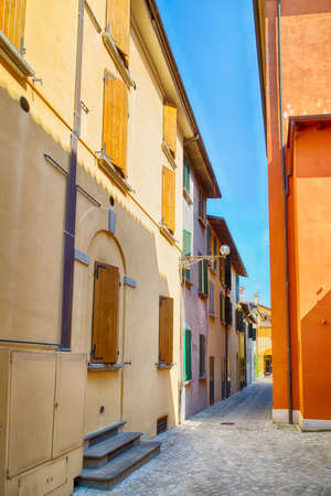 romagna: narrow streets of a medieval country town in the Romagna plain
