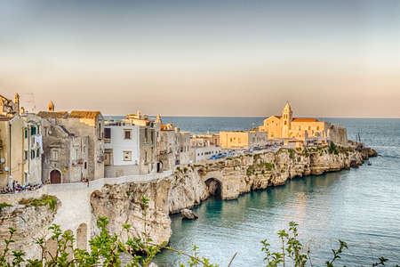 sea of houses: Vieste in Italy, an old Town on sea cliff and beaches: ancient houses and church
