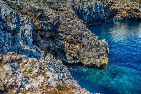 inlet bay: cove on the rocky beach near Otranto in Puglia, Italy Stock Photo