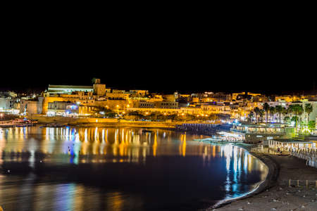 Night view of harbor of Otranto, Greek-Messapian city on the Adriatic Sea in Italy