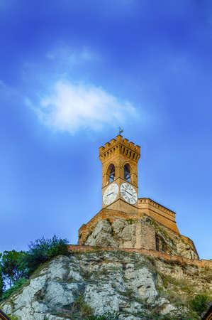romagna: clock tower overlooking Brisighella in Emilia Romagna, Italy