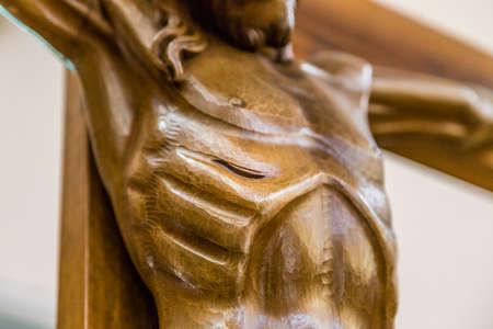 viernes santo: Celebrando el Viernes Santo, el pecho de Jesucristo clavado en la Santa Cruz Foto de archivo