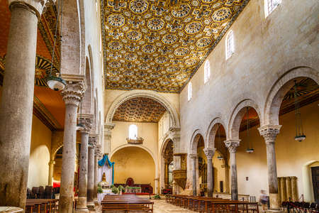 origins: Interior of the medieval Cathedral in the historic center of Otranto, coastal town of Greek-Messapian origins  in Italy
