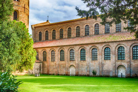 ravenna: Exterior view of Basilica of Saint Apollinaris in Classe near Ravenna in Italy, early Christian period church
