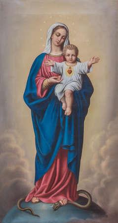 赤ちゃんイエスと聖母マリアの絵画 報道画像