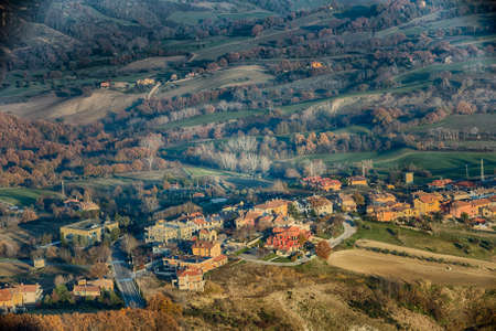 hilly: The hilly countryside around the Republic of San Marino in winter Stock Photo