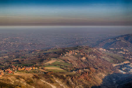 The hilly countryside around the Republic of San Marino in winter