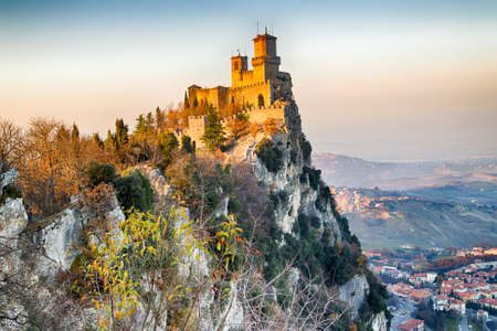 san marino: crenellated tower overlooking the valley in San Marino Repubblic