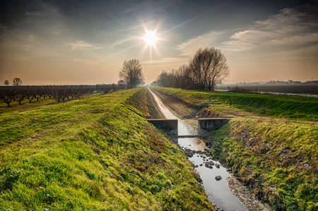 emilia: drought in the winter in an irrigation canal for agriculture in the countryside of Emilia Romagna in Italy Stock Photo