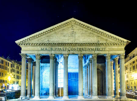 imposing: Night view of the majesty of the Pantheon in Rome with its imposing columns and ancient walls