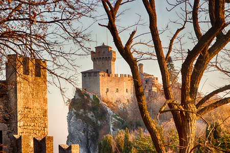 crenellated tower overlooking the valley in San Marino Repubblic Editorial