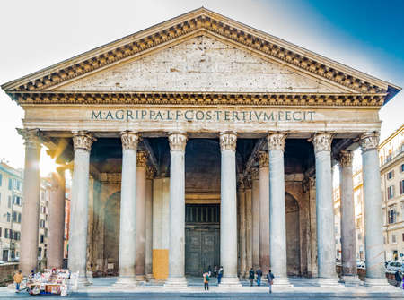 majesty: the majesty of the Pantheon in Rome with its imposing columns and ancient walls Stock Photo