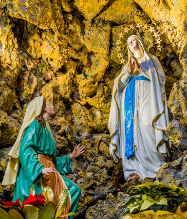 Representation of the apparitions of the Blessed Virgin Mary in the grotto at Lourdes
