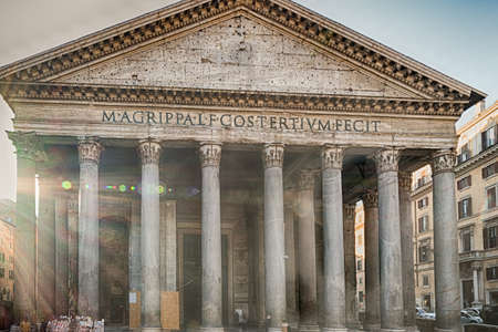 imposing: the majesty of the Pantheon in Rome with its imposing columns and ancient walls Stock Photo
