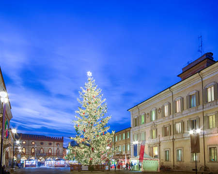 the flair: Christmas tree and decorations in city square with Venetian flair in Ravenna, Italy Stock Photo