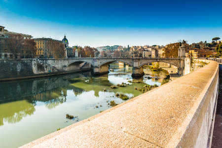tiber: view of the river Tiber, trees, ancient palaces, monuments of ancient Rome