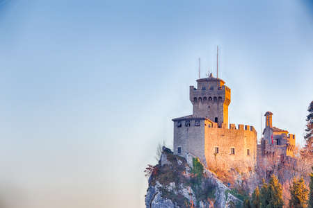 crenellated tower overlooking the valley in San Marino Repubblic