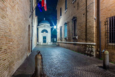 The cobbled streets of Ravenna, the Byzantine city in Italy at night