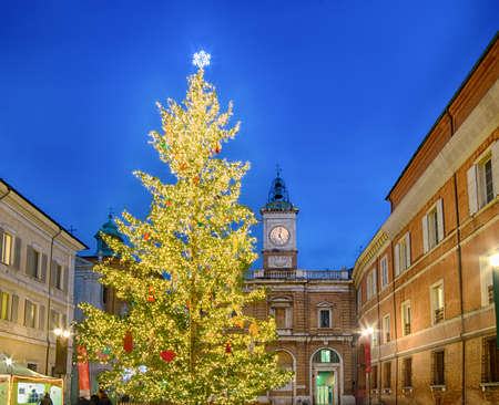 ravenna: Christmas tree and decorations in city square with Venetian flair in Ravenna, Italy Stock Photo