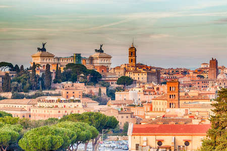 catholic chapel: overlooking the rooftops of Rome, historic palaces, Catholic churches and old houses