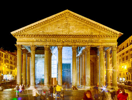 imposing: Nightview of the majesty of the Pantheon in Rome with its imposing columns and ancient walls