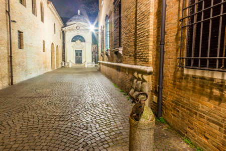 cobbled: The cobbled streets of Ravenna, the Byzantine city in Italy at night