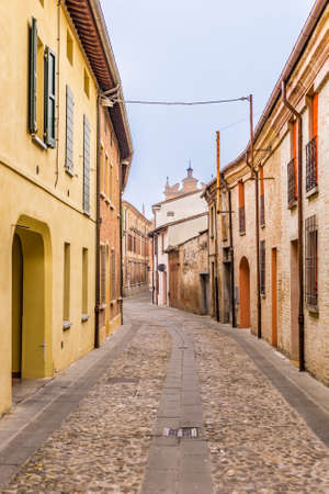 romagna: Cobbled streets of country medieval city in Emilia Romagna, Italy Stock Photo