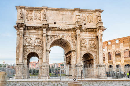 imposing: the imposing walls of a Roman triumphal arch and amphitheater