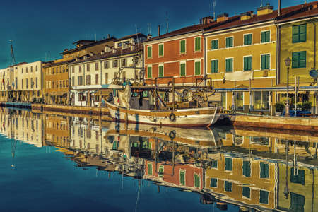 house float on water: Ancient houses on Leonardesque Canal Port  in Cesenatico in Emilia Romagna in Italy