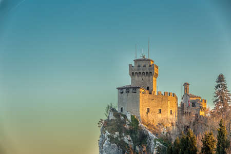 crenellated tower: crenellated tower overlooking the valley in San Marino Repubblic