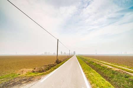 emilia: a road through the cultivated fields of the countryside of Emilia Romagna in the winter  fog in Italy